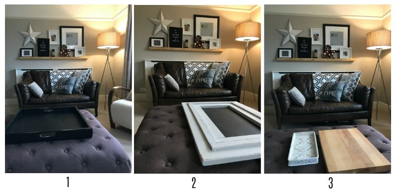 3 pictures of an ottoman with different trays on top to give options
