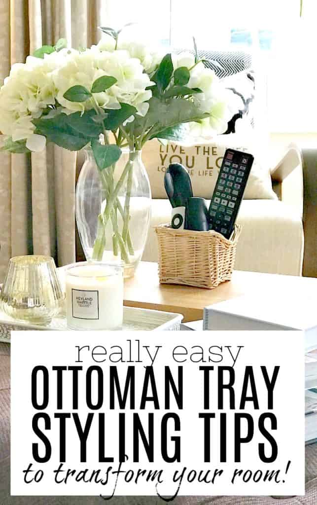 Ottoman tray styled with accessories - with post title wording overlay