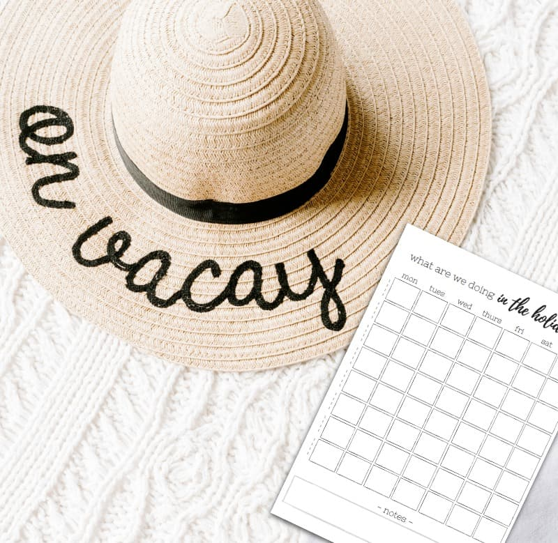 "Sun hat with ""on vacay"" written on the brim - and printable planner to the side"