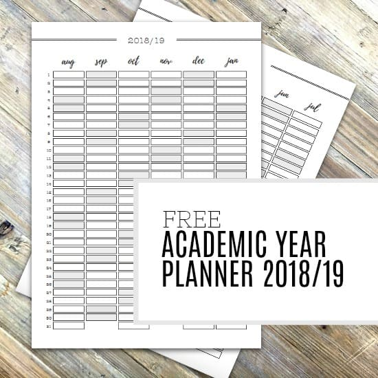 Picture of the free academic year planner printable