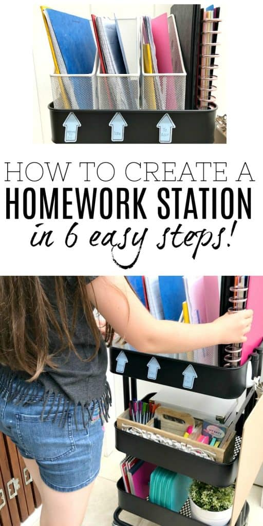 DIY Homework Station being used by little girl