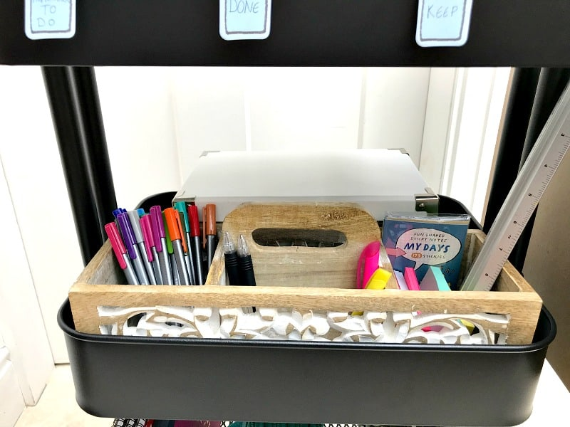 Pen holder and tool box in trolley for homework storage