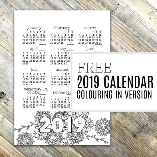 Free Colouring in Page - 2019 Calendar