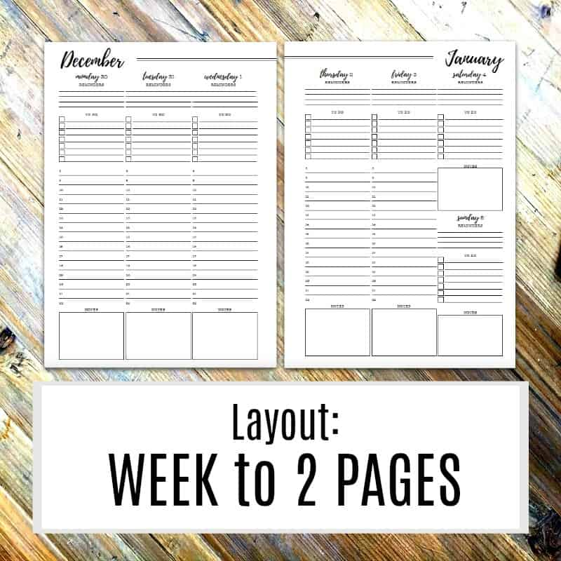 Week to 2 page payout for the 2019 diary printables
