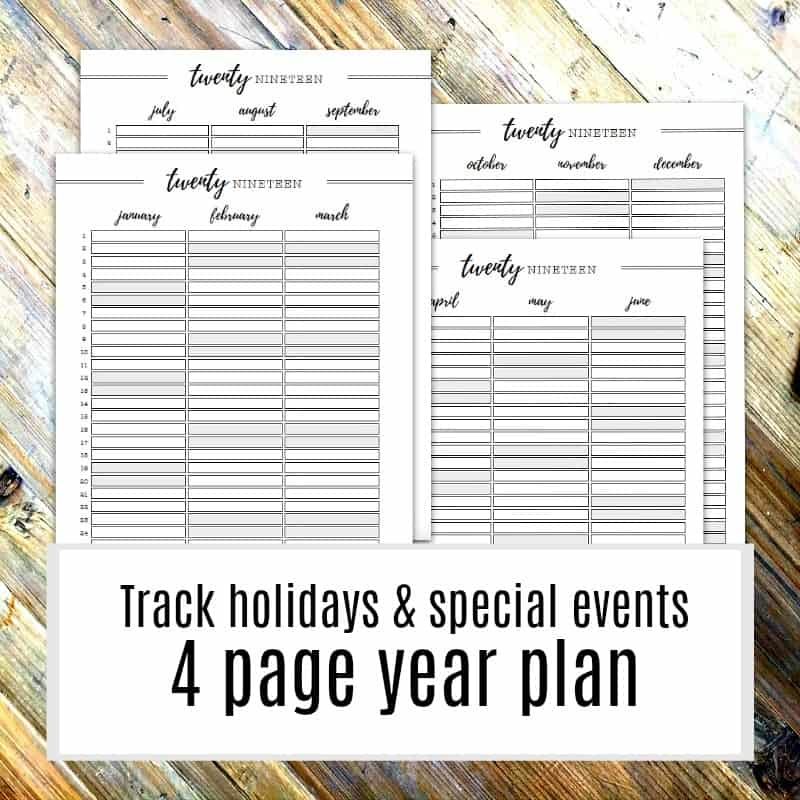 Pictures of the 2019 printable 4 page year planner