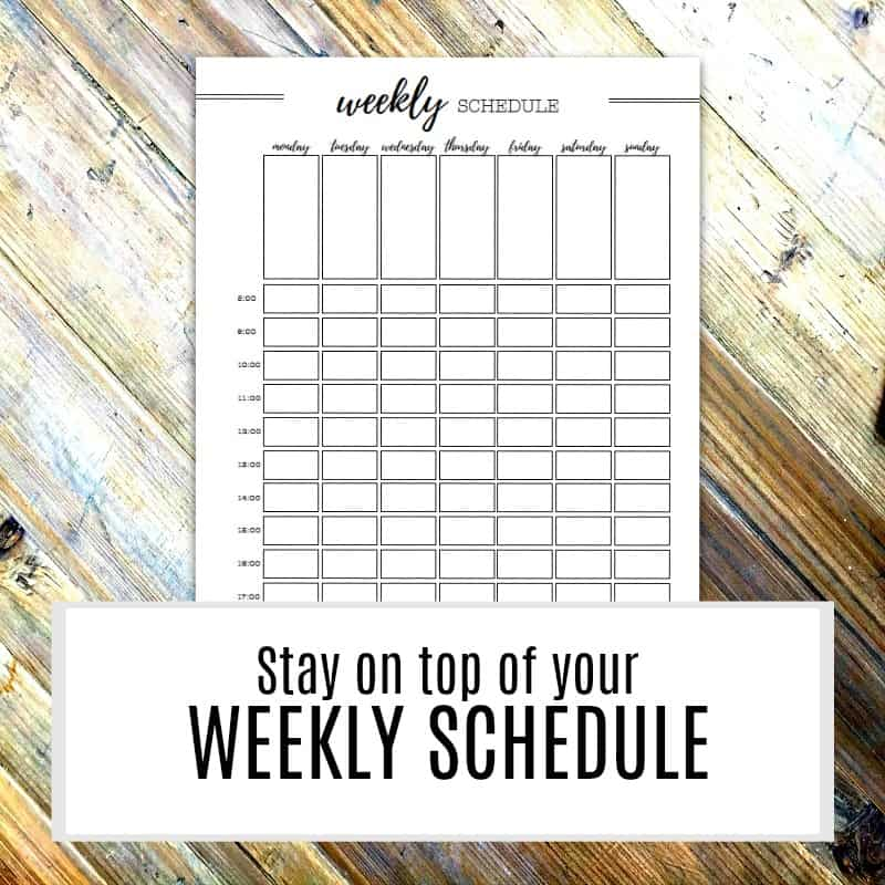 Weekly Schedule Page Printable
