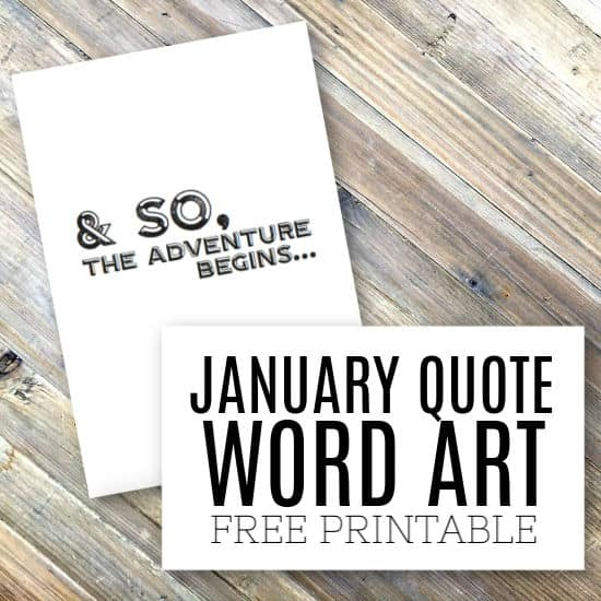 Quote / Word Art for January