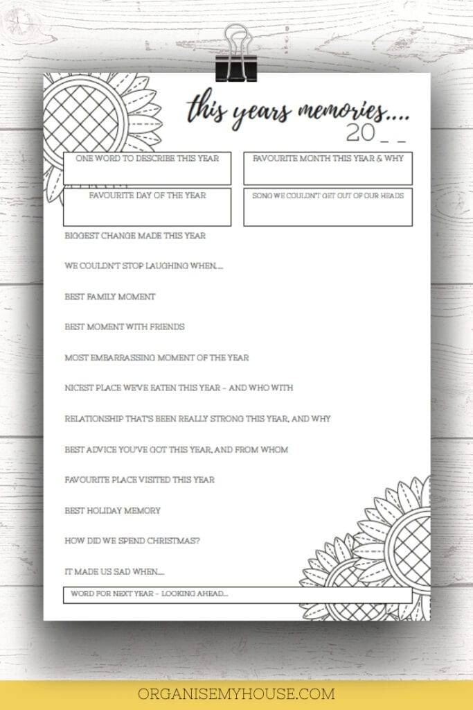 The Years Memories - A Free Printable For The End Of The Year