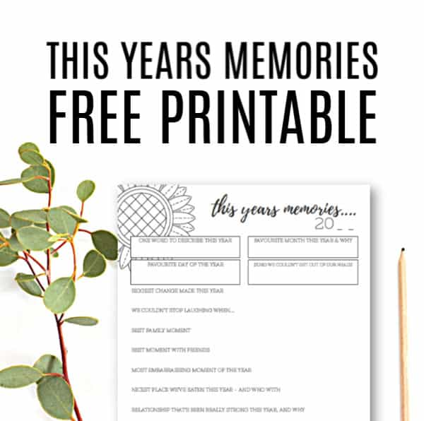 This Years Memories - Free Black and White Printable for your YearBook