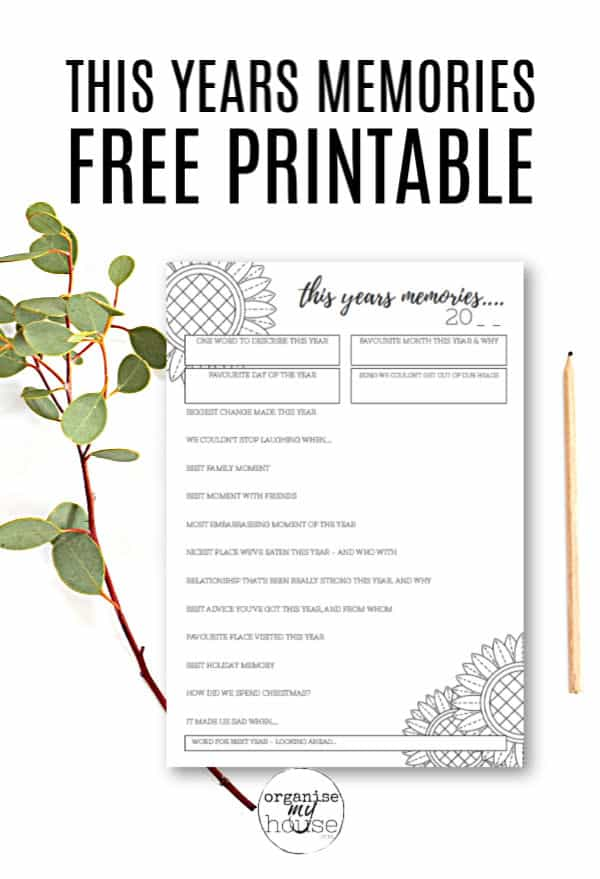 Free Printable for This Years Memories