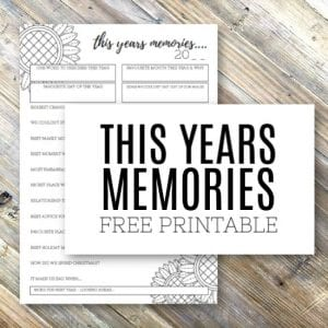 This Years Memories - A Sheet for Collecting the Best Bits of the Past Year