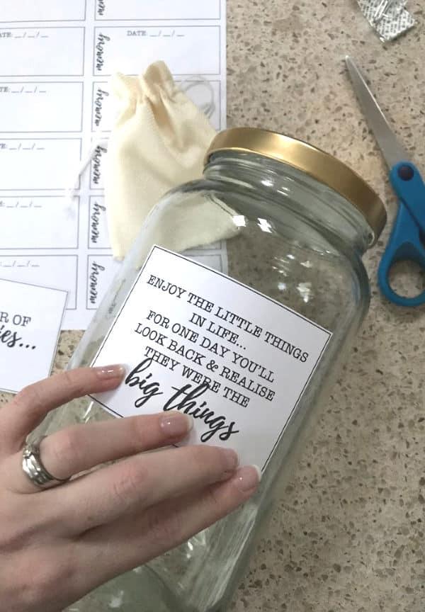 Label for Memory Jar onto the Jar