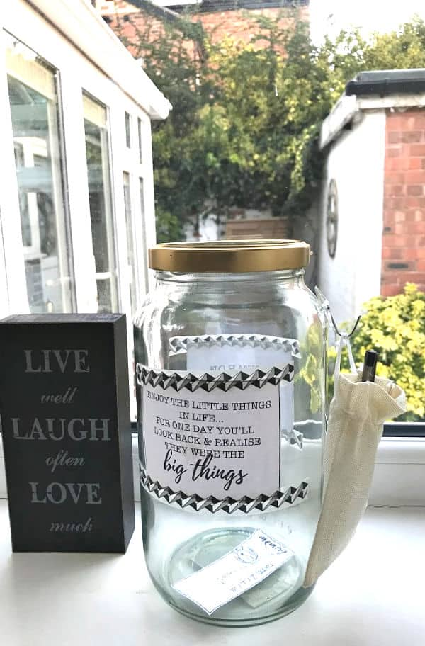 Memory Jar finished and ready to use - on a windowsill