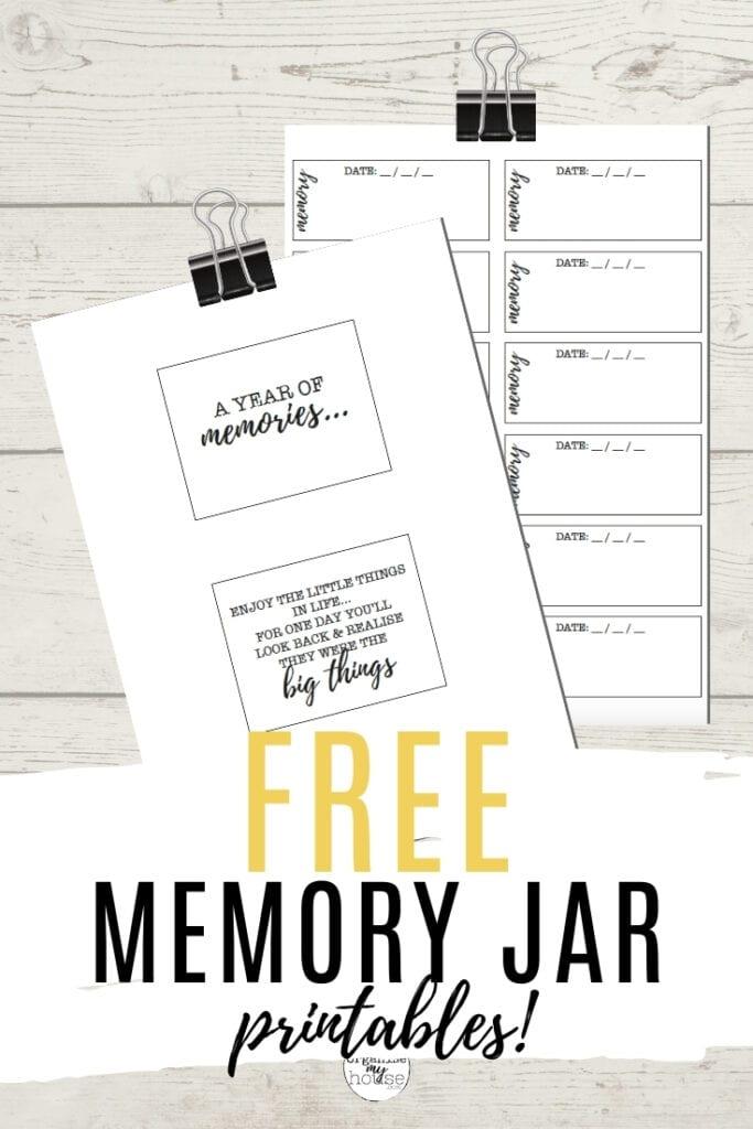 Printable Memory Jar Labels