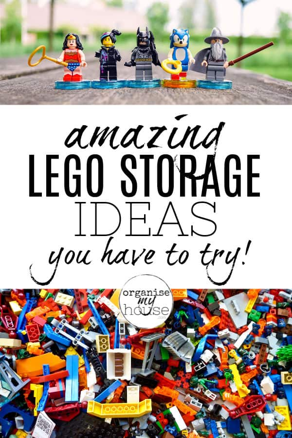 "Lego pieces with wording overlaid ""amazing lego storage ideas you have to try'"