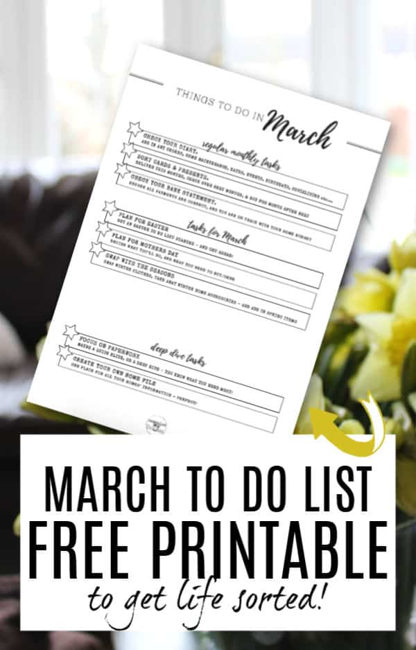 Free Printable TO DO list for March