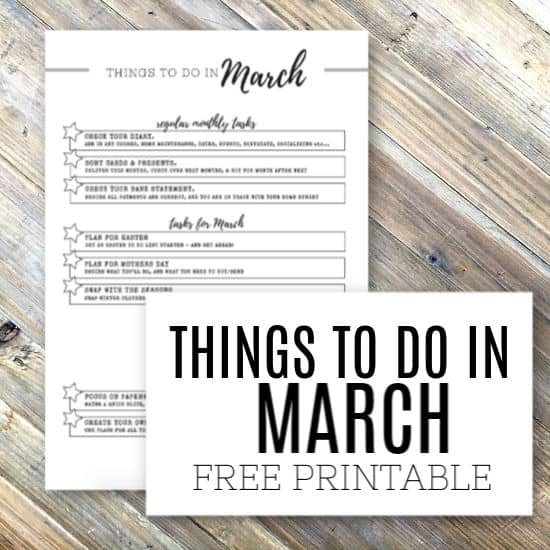 Things to do in march - free printable