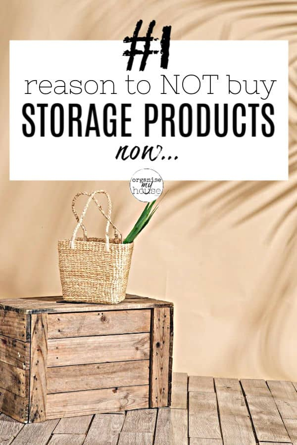 Wooden Crate with Wicker Basket on Top - beige Background - with title words overlaid '#1 reason to not buy storage products now'