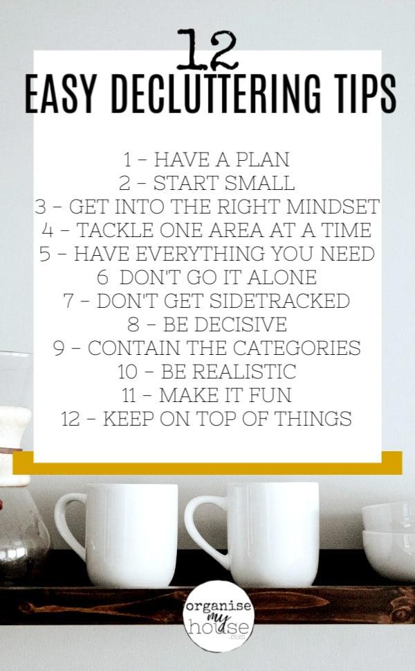 List of Easy Decluttering Tips