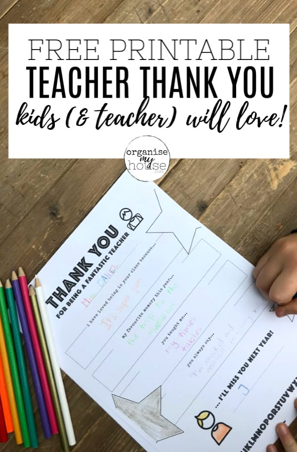 Thank you letter for teacher being filled in on table with title words overlaid