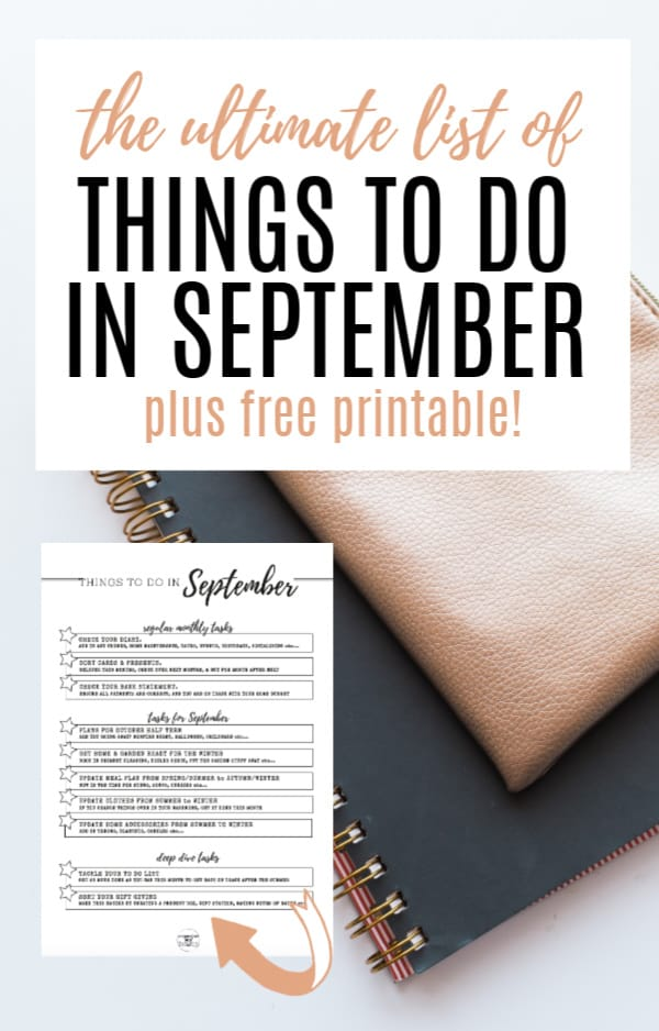 Notepad on desk with a picture of a free printable checklist for September