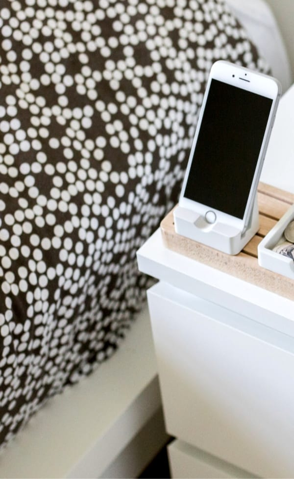 phone by bedside - on bedside table