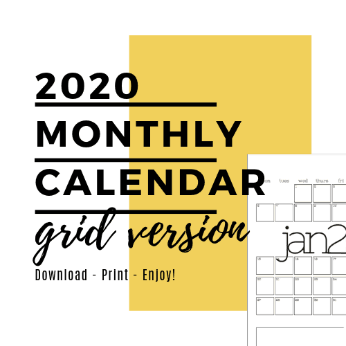 Monthly Planner - Grid Layout - 2020