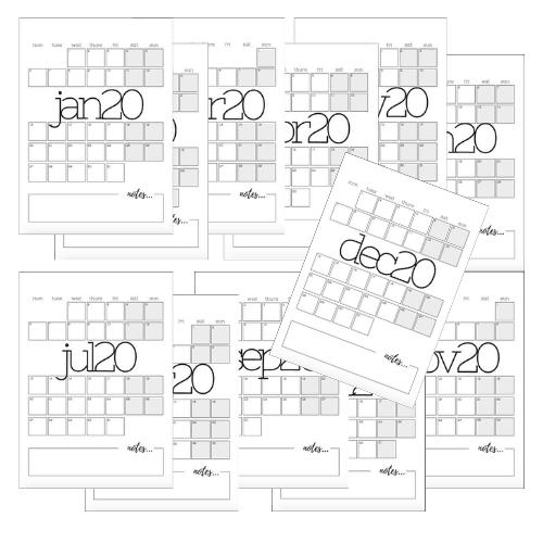 2020 Monthly Planner Set - Grid Version
