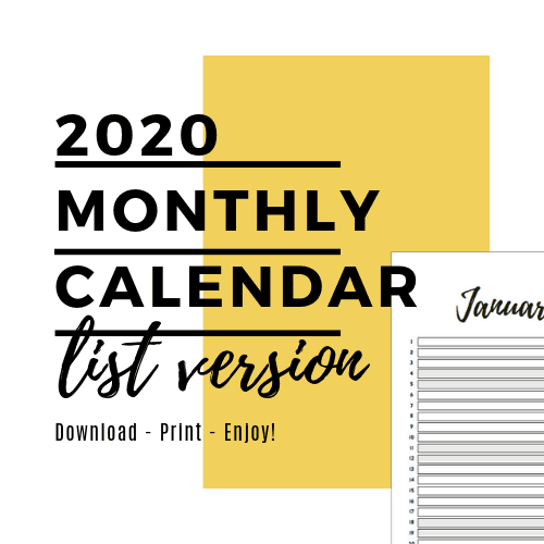 Monthly Planner - List Layout - 2020