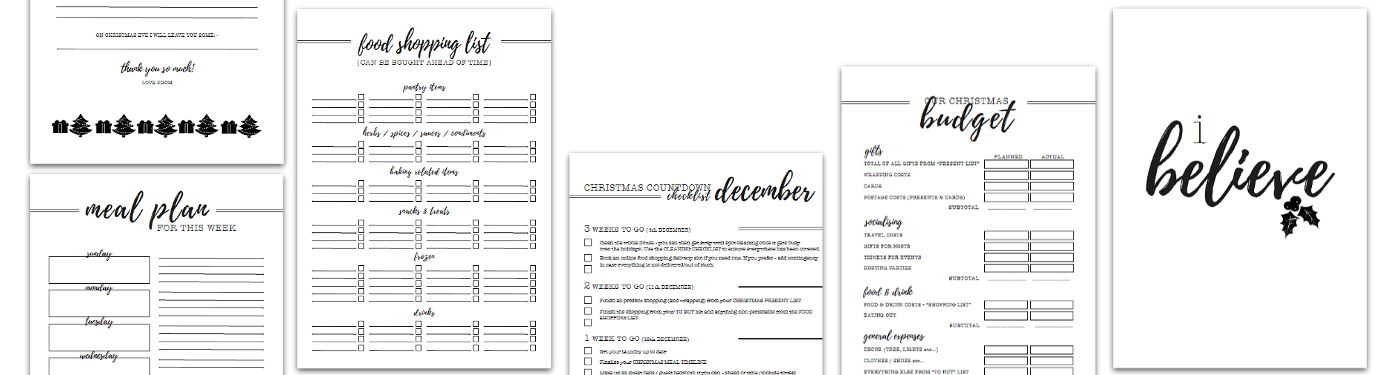 Christmas Planner Selection Of Pages