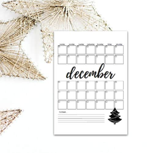 December Calendar Page - Black and White