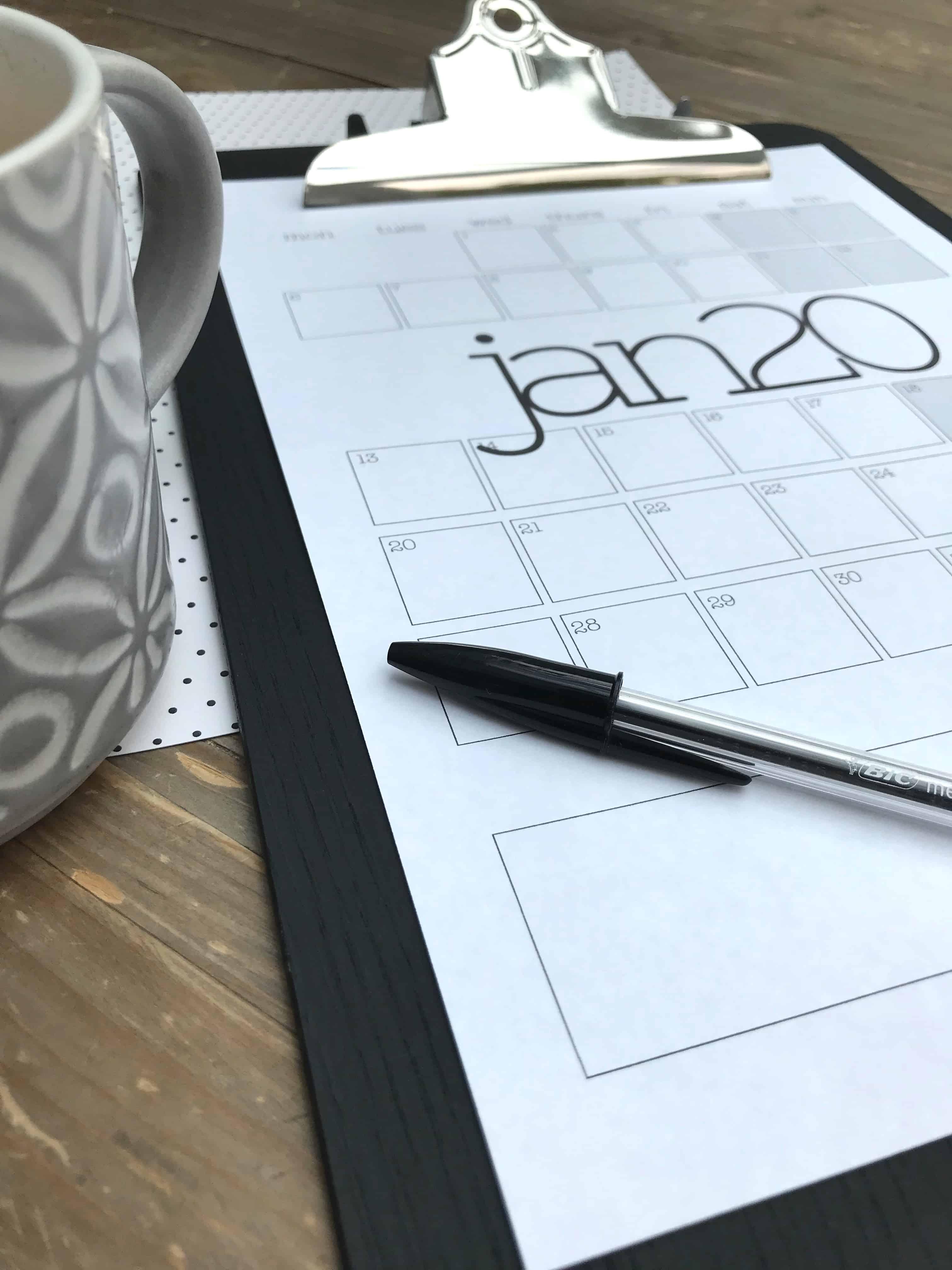 Grid Version of Monthly Planner In Situ