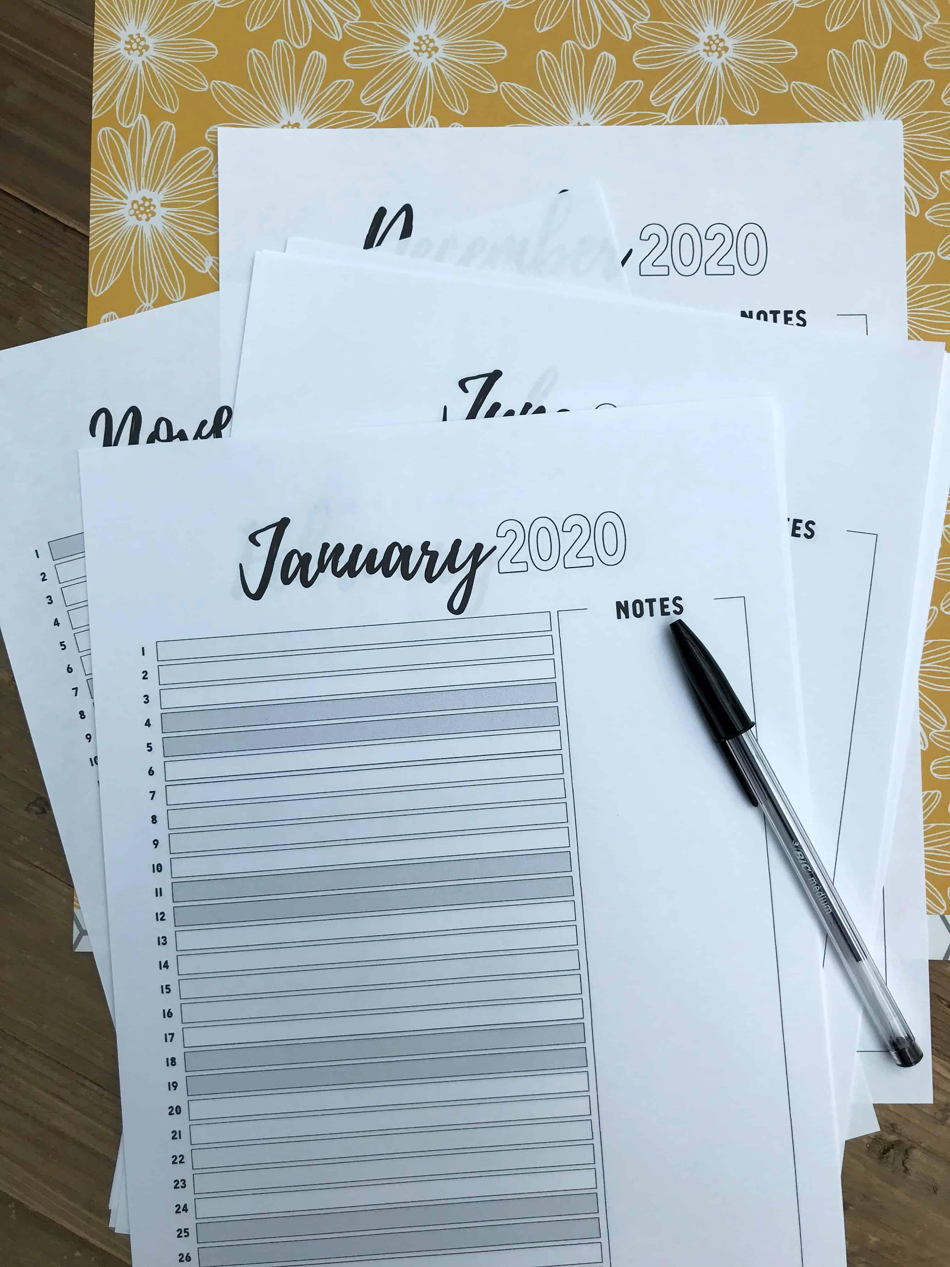 List Version of Monthly Planner In Situ