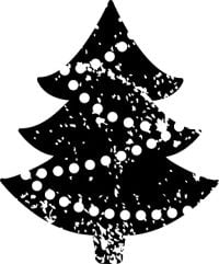 Christmas Tree Black and White Stamp