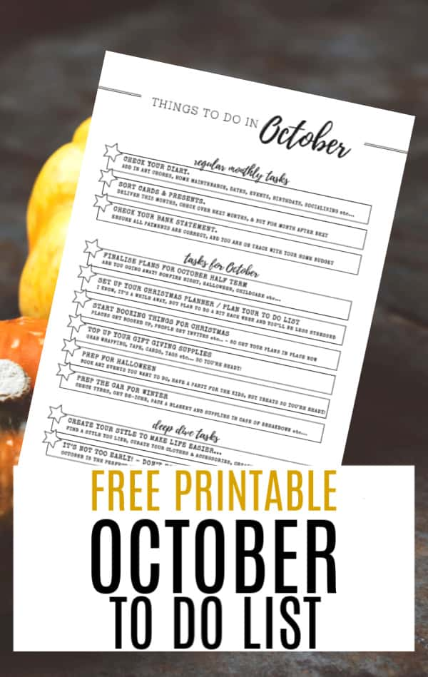 Printable for Things To Do in October