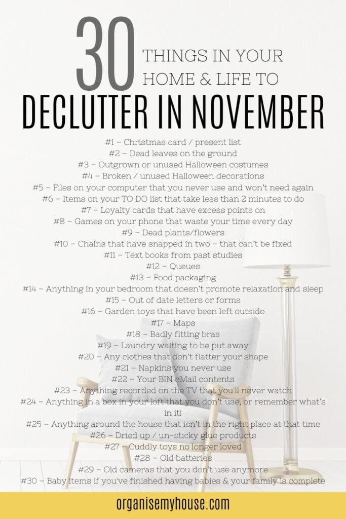 30 Easy things to declutter in November - Free Printable Checklist