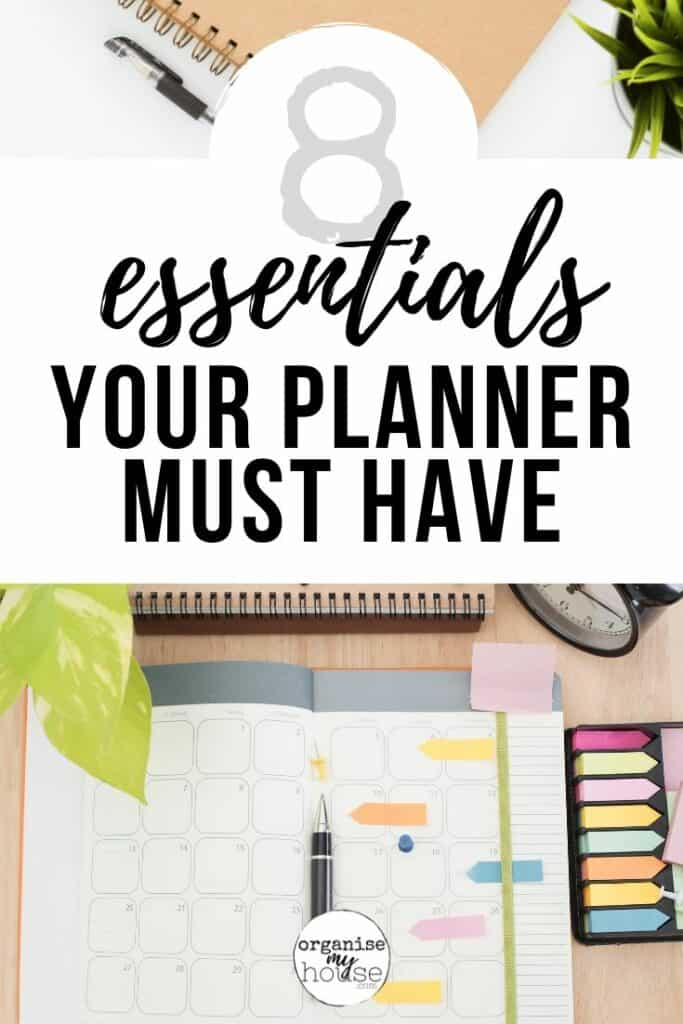 "Planners on desk behind title words ""8 Essentials Every Planner Should Have"""