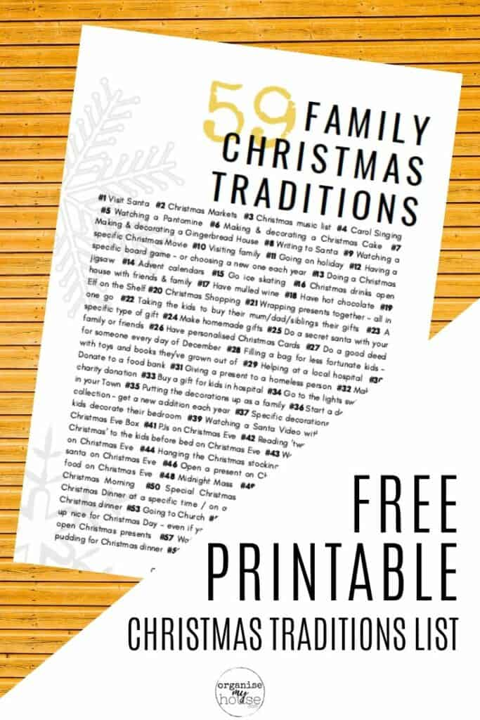 Free printable list for Christmas Traditions