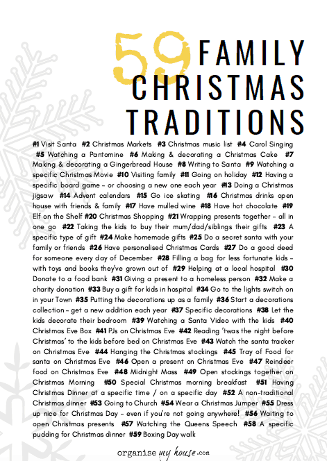 Christmas Traditions List