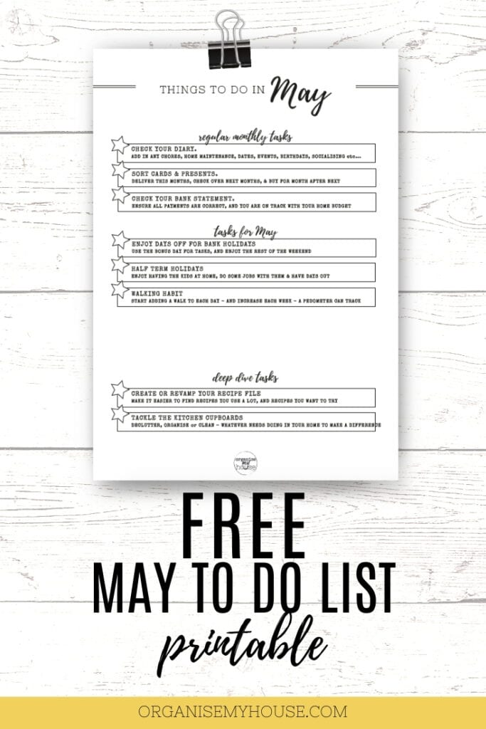 May TO DO list printable for the home