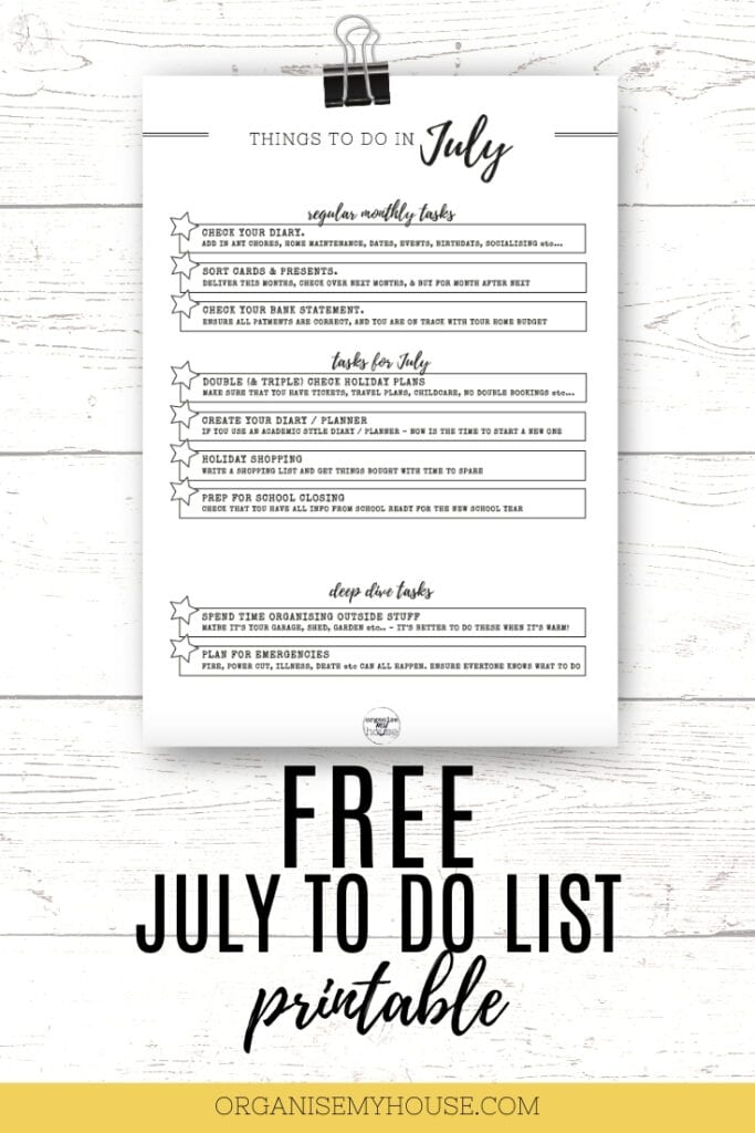 July TO DO list printable for the home