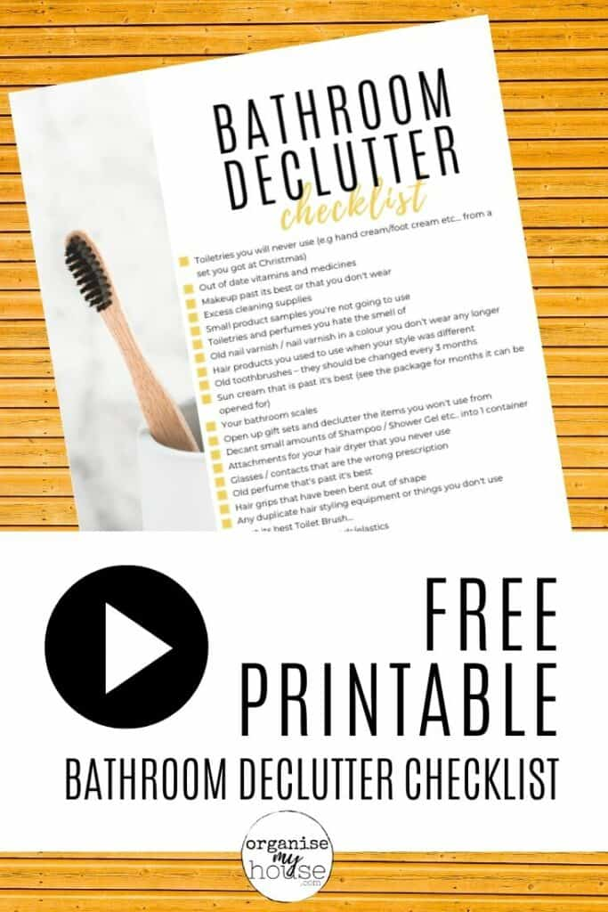 Printable Checklist Of Things To Declutter From Your Bathroom