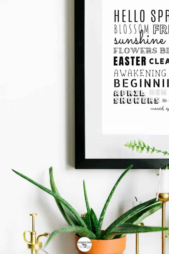 Spring Subway Art in Black Frame on White Wall with Plant underneath