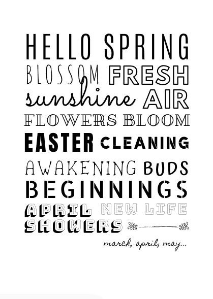 Spring Word Art / Subway Art - Free Printable