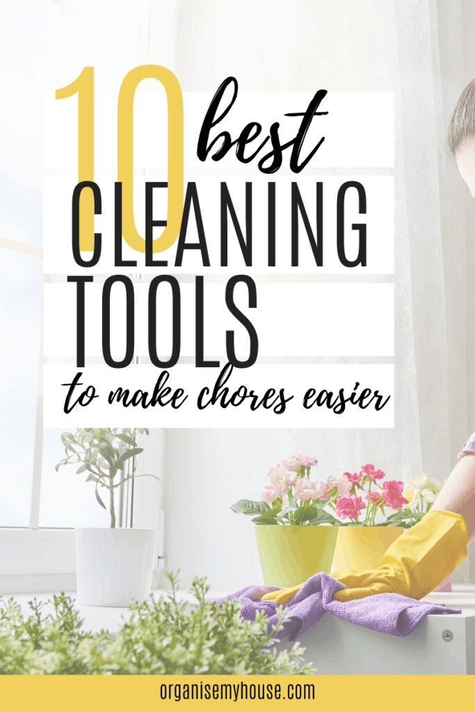 Lady cleaning with greenery in the kitchen and title wording overlaid