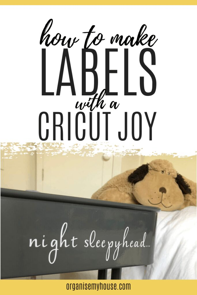Title picture with 'how to make labels with a Cricut Joy' and a picture of a label