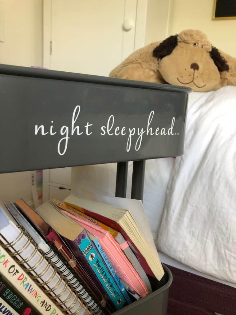 Night Sleepyhead label on trolley bedside table