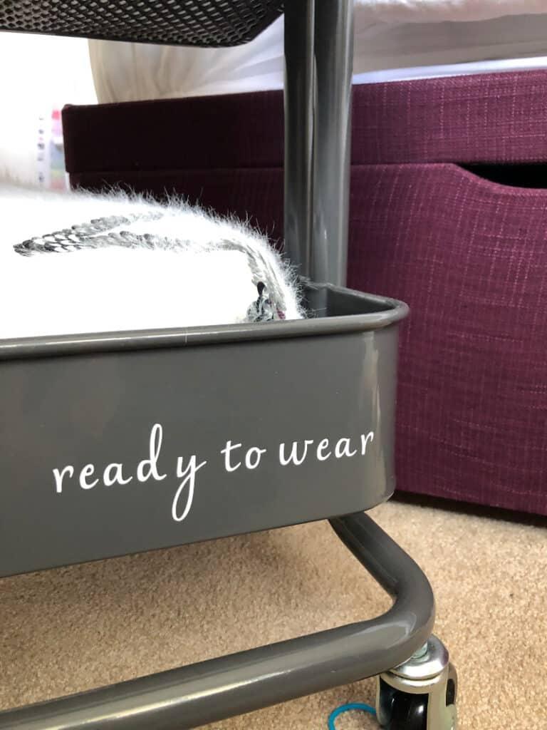Ready to Wear label on trolley bedside table