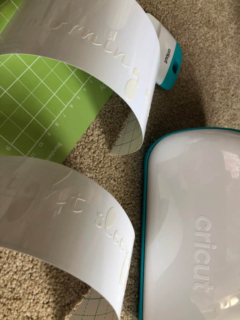 White text labels printed from Cricut Joy