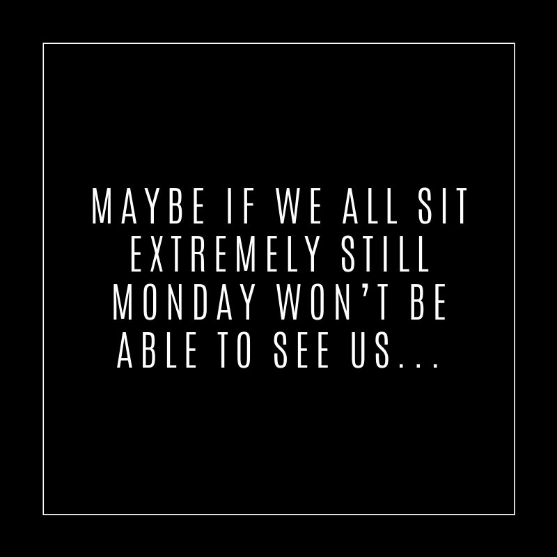 Maybe if we all sit extremely still Monday won't be able to see us.